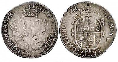 España Eterna: La mujer en las monedas españolas moneda inglesa con Felipe II y María Tudor durante sus 4 años de reinado