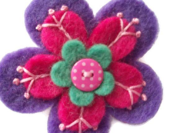 Purple Wool Felt Flower Brooch   Embroidered  by moodycowdesigns, £6.00