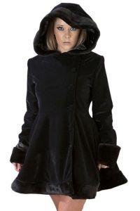Burleska - Karen Coat - Gothic Lolita Mantel mit Kapuze und Kunstfell