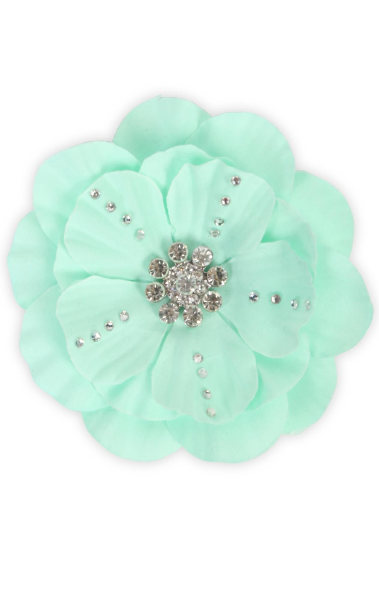 stone detailed flower clip