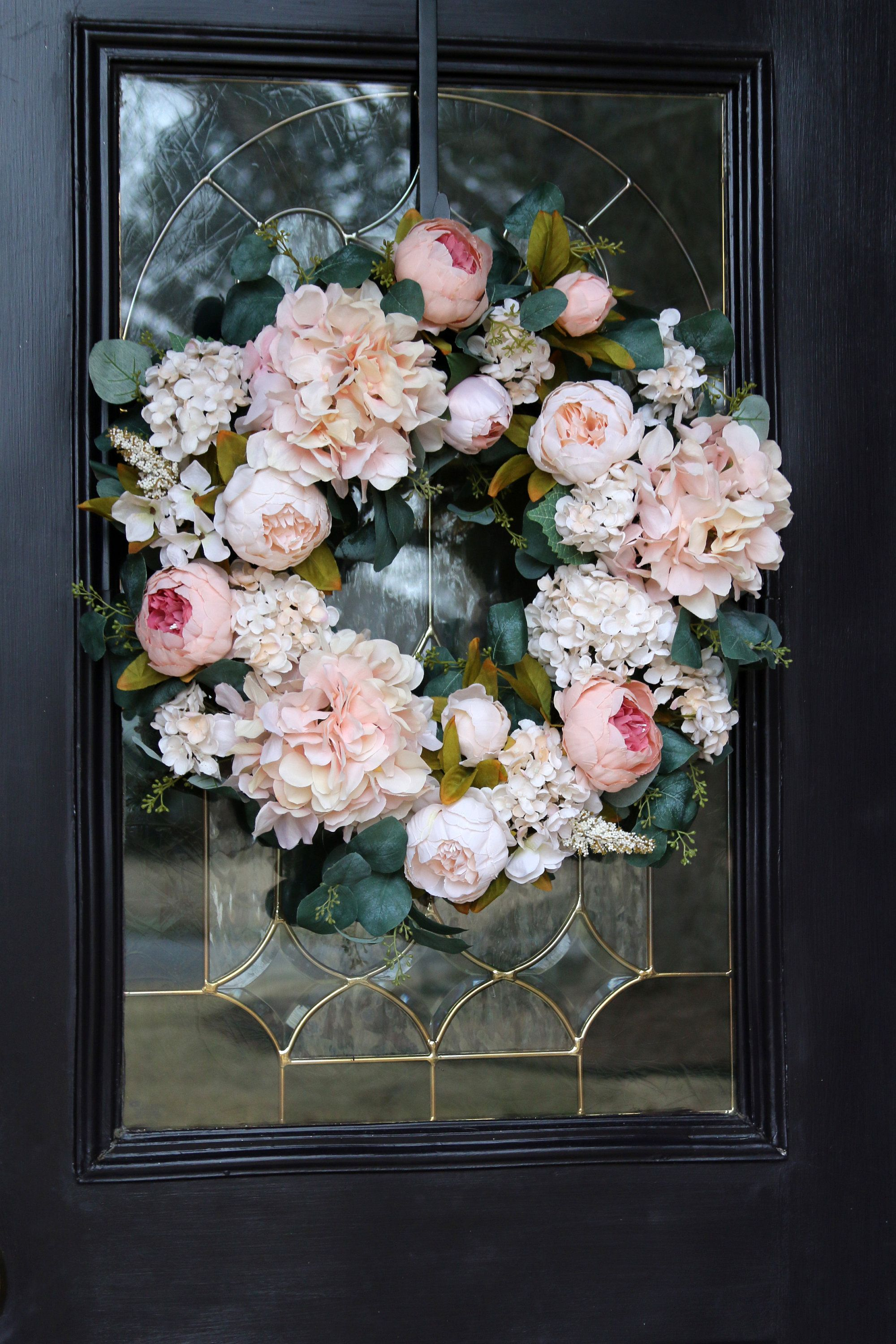 Photo of Blush Pink Easter Wreath for Front Door, Spring Door Wreath, Easter Wreath w/ Hydrangeas, Easter Decoration, Shabby Chic Spring wreath