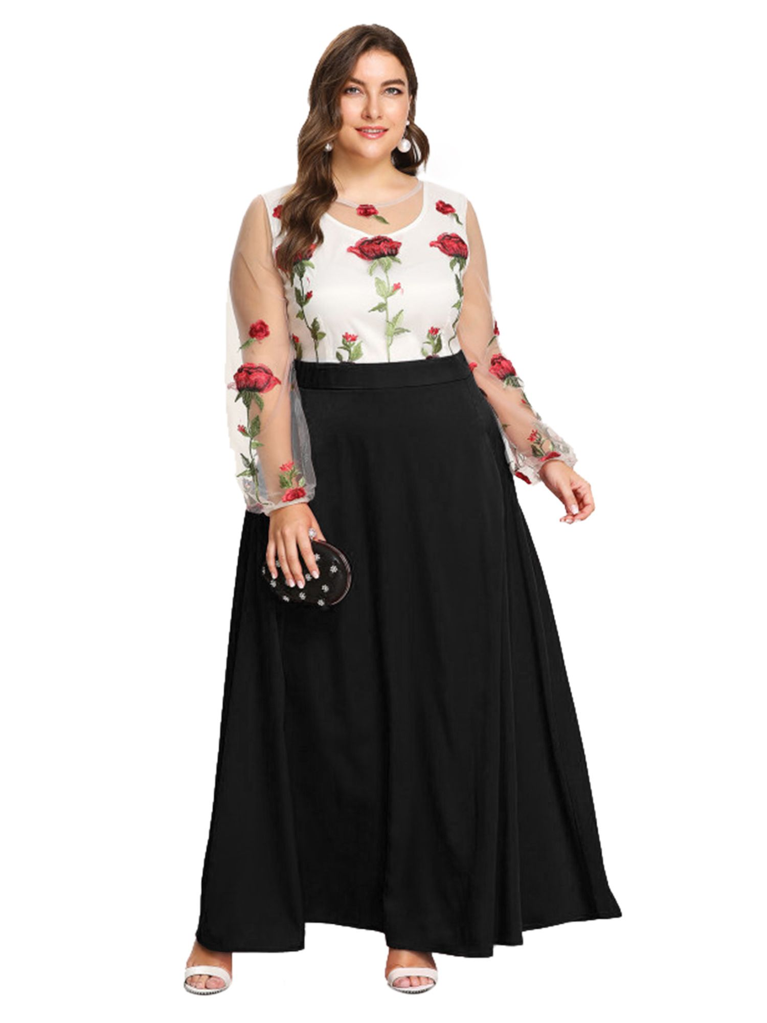 2b0fba48da3 ESPRLIA Women s Empire Waist Plus Size Maxi Cocktail Dress