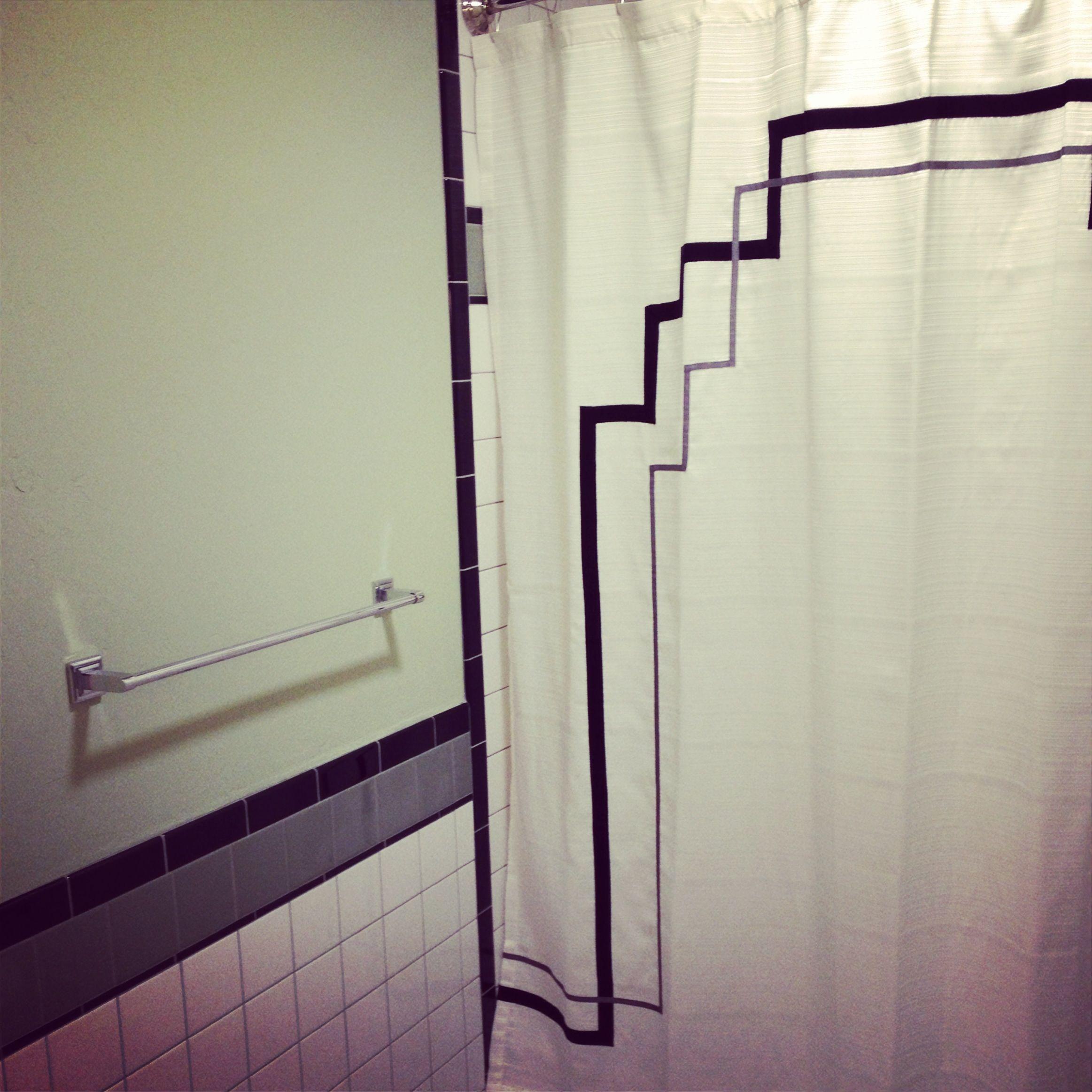 Art Deco Tile Work And Custom Shower Curtain Design By Studiobdesigngroup