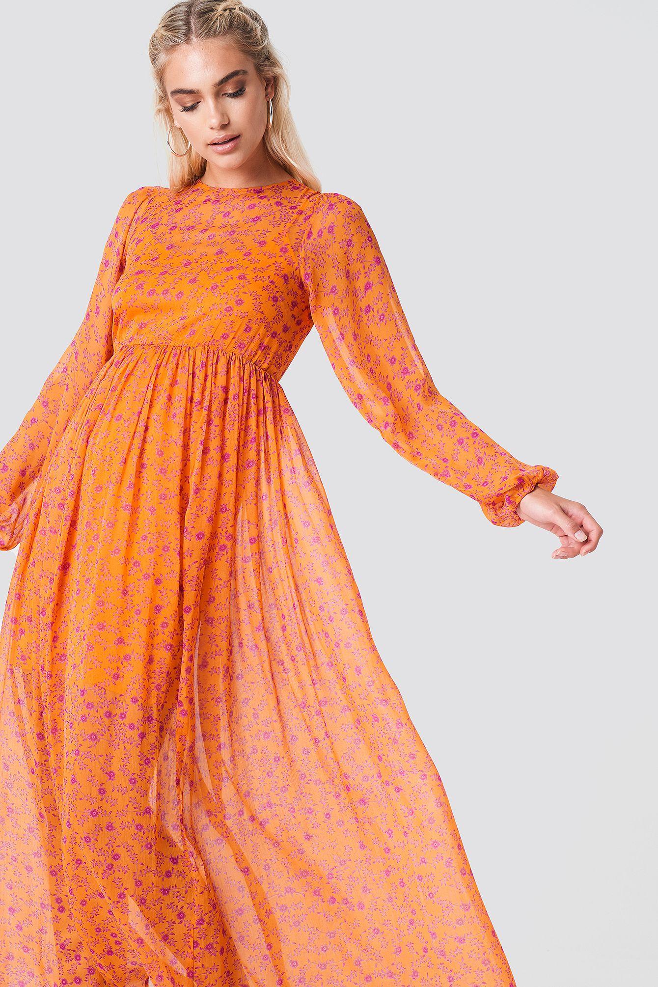 NA KD Boho Balloon Sleeve Maxi Dress Orange, Multicolor