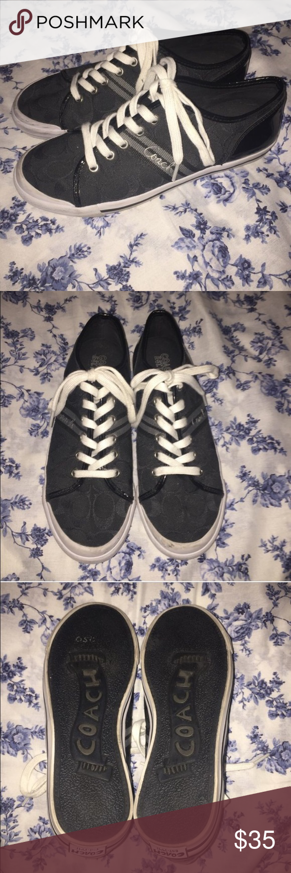 Black Coach Sneakers Great Condition & Hardly Worn. Small Scuff On Heel But Not Very Noticeable. Does Not Have A Tag With The Size But Would Fit A Women's 8.5 Best. Coach Shoes Sneakers
