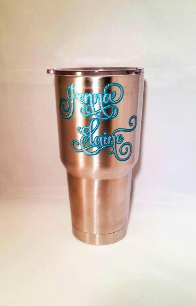 Monogram Decal Mug Tumbler Cup Sticker Glitter Vinyl Decal - Custom vinyl decals monogram