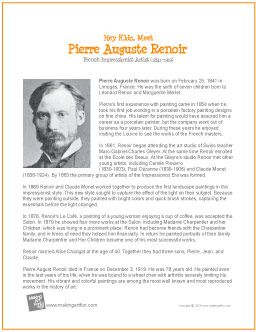 Hey Kids, Meet Pierre Auguste Renoir | Printable Biography - http://makingartfun.com/htm/f-maf-printit/renior-printit-biography.htm
