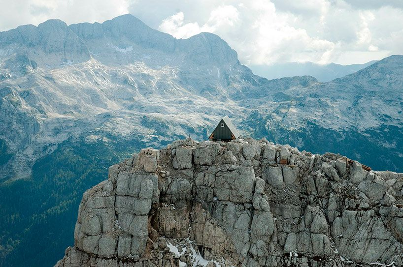 Small Cabin Built On The Peak Of The Julian Alps Mountain Huts Alps Mountain Cabin