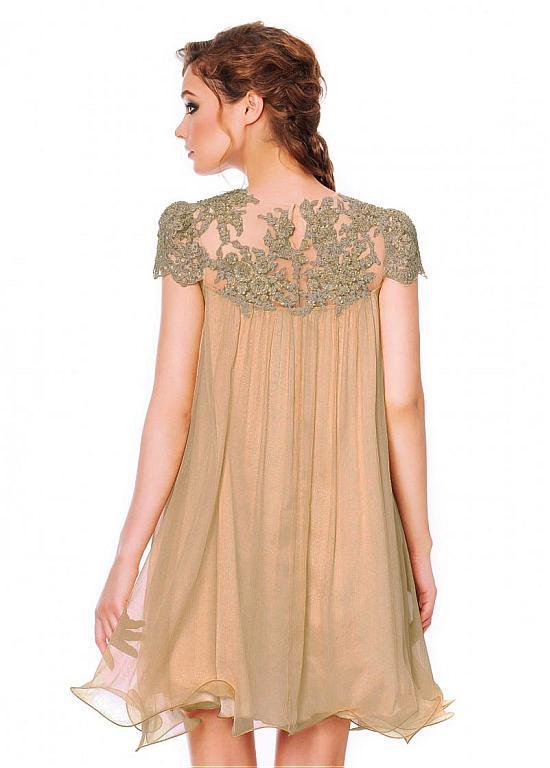 Glamorous Silk Like Chiffon & Stretch Satin Jewel Neckline A-Line Homecoming Dress