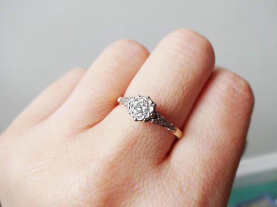 Art Deco 35 Carat Diamond Solitaire Ring 18k Gold Platinum Featured Jewelry Diamond Diamond Pendant