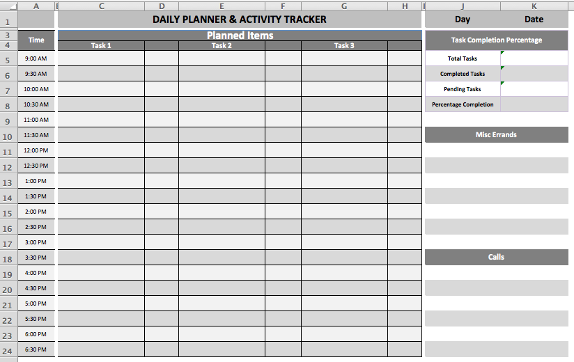 daily work schedule format in excel