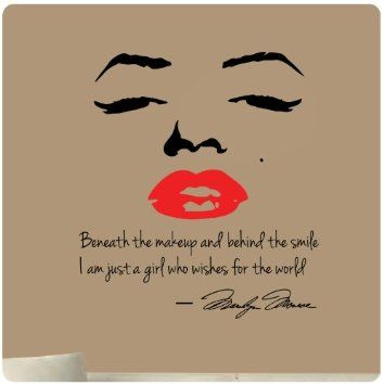 Marilyn Monroe Wall Decal Decor Quote Face Red Lips Large Nice