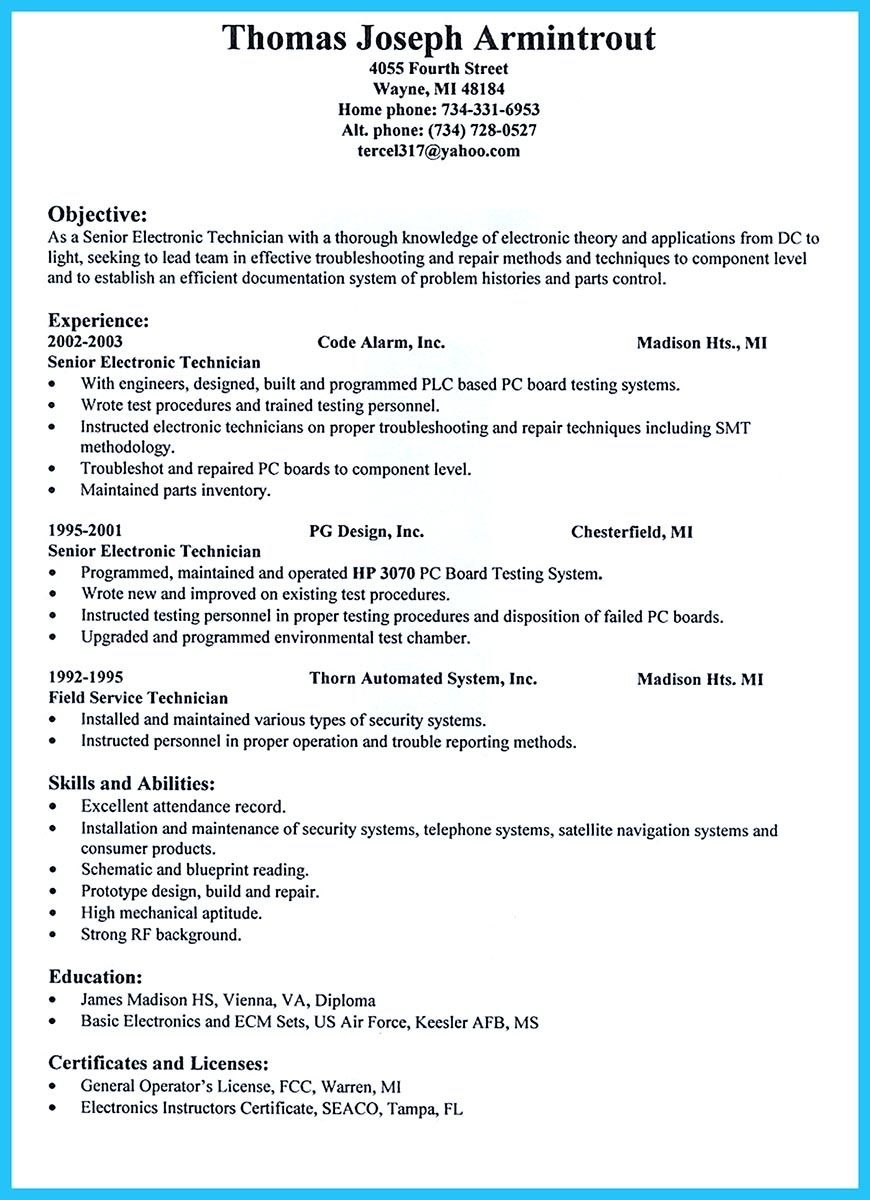 Are You Trying To Make The Best Cable Technician Resume Ever? If So, Then  Pc Technician Resume