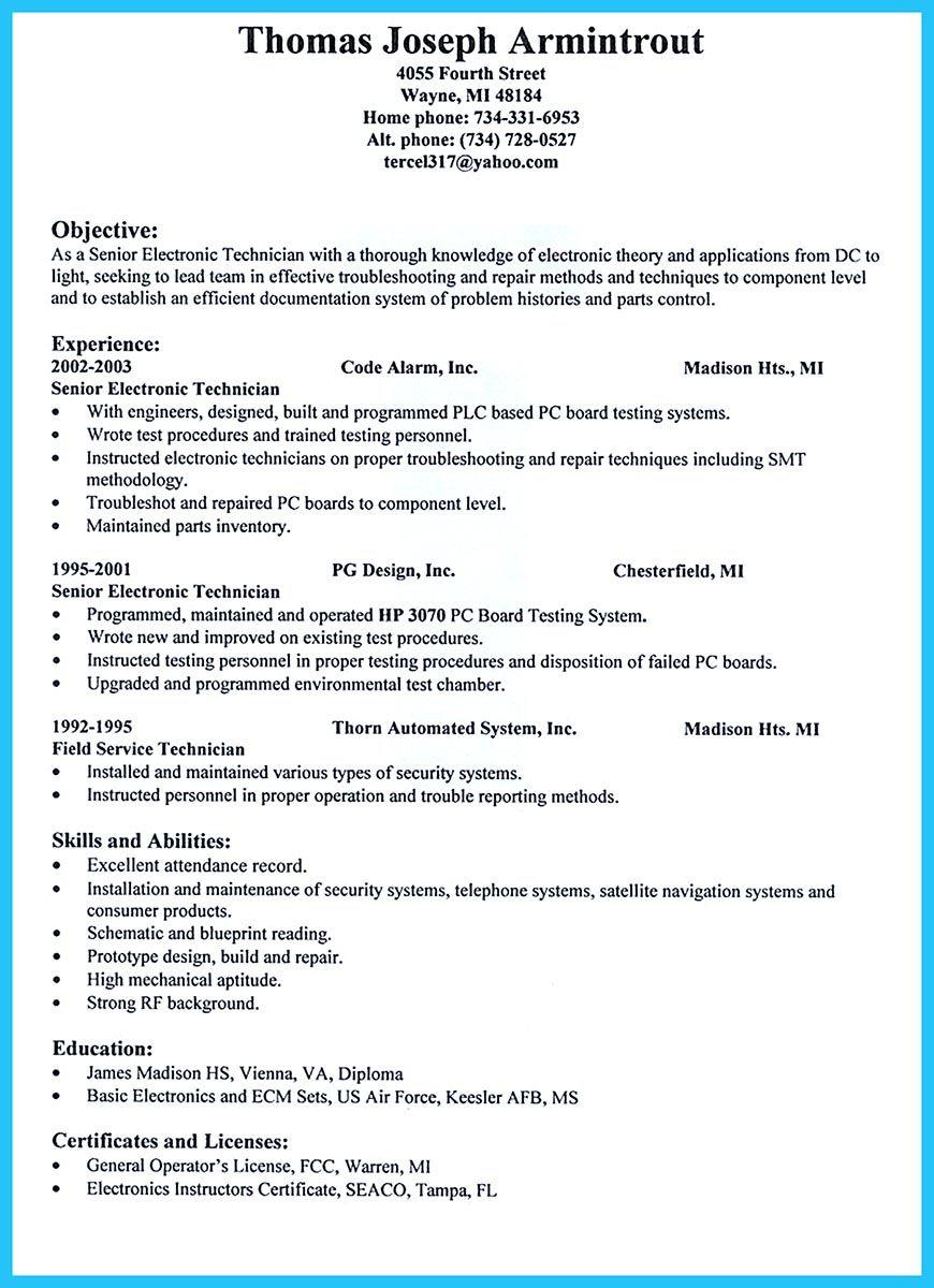 Pin di Resume Sample Template And Format  Sample resume Resume dan Electronic technician