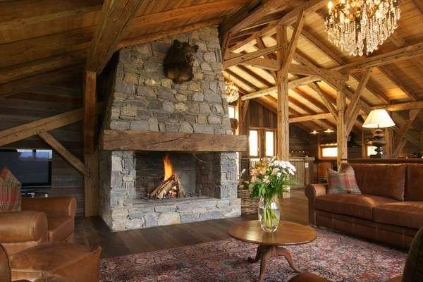 Chalet Fireplace | Ski Chalet | Pinterest | Zuhause, Kamine Und ... Kamine Landhaus Chalet