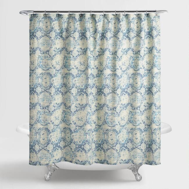Blue Ikat Parisa Shower Curtain