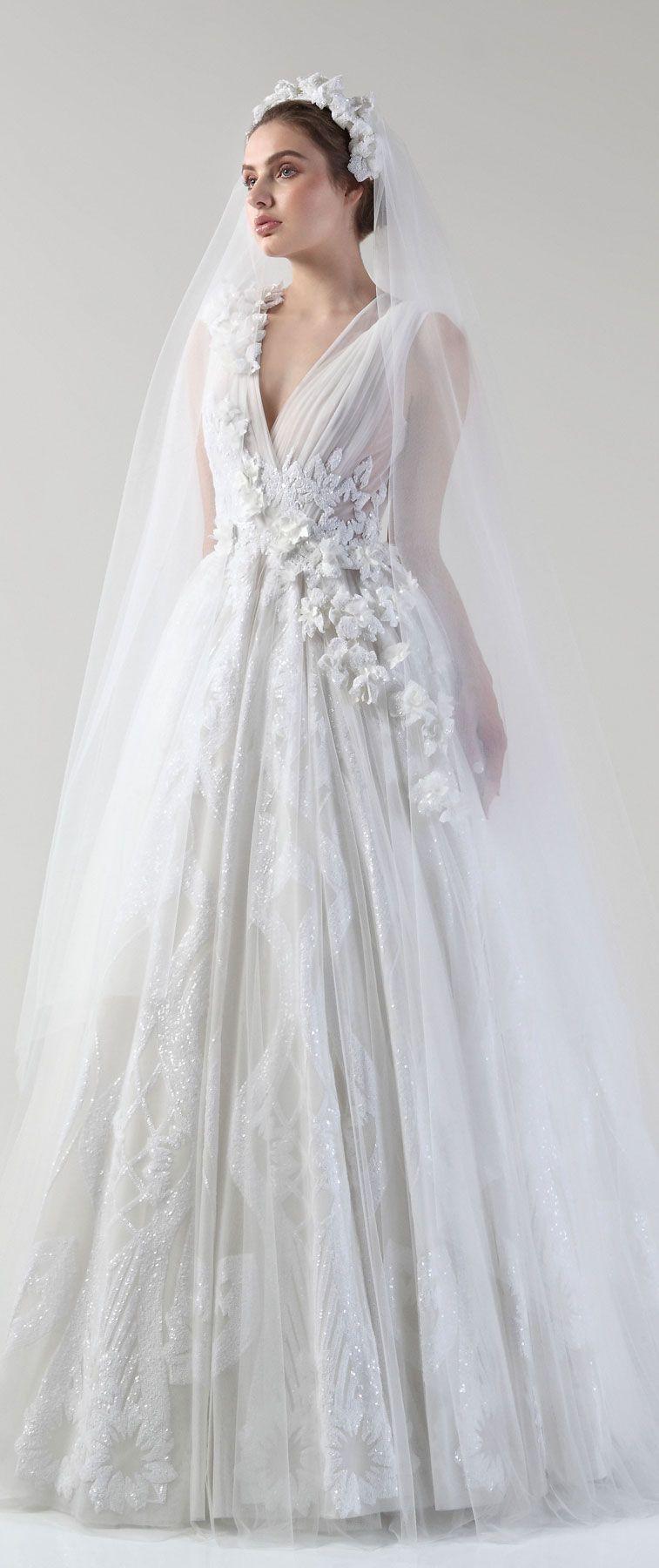 Sweet 3D Floral Applique Wedding Dress For Feminine, Romantic Brides