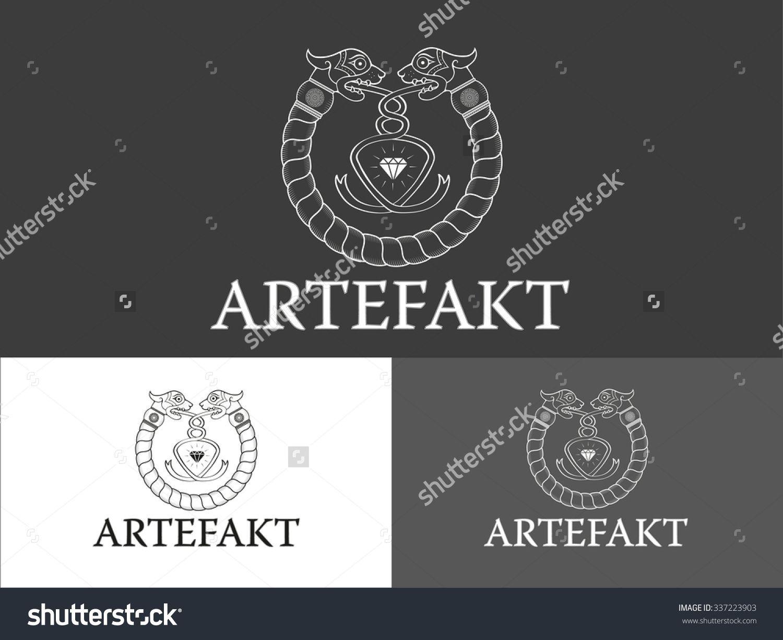 Line Art White Vector Symbol With Old Celtic Elements Logo