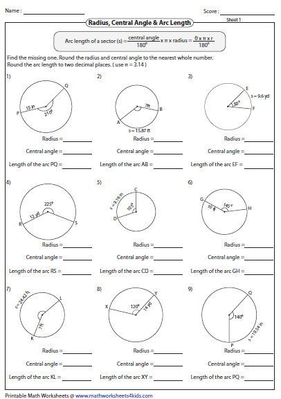 Identifying Missing One Arc Length Geometry Worksheets Angles Worksheet Circle Geometry