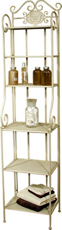 Tall Cream Metal Shabby Chic Bathroom Shelving Unit   Furniture ...