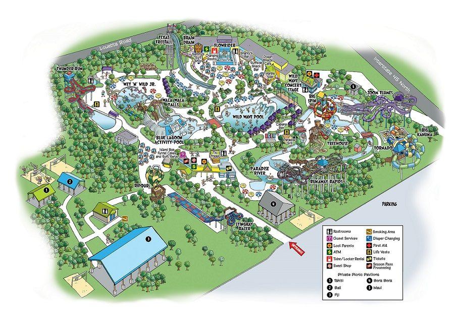Park Map Splash Town Water Park Water Park Splash Park Houston Attractions