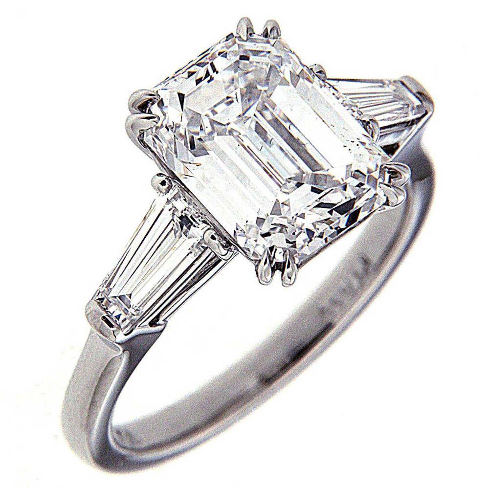 150 Carat Gia Certified Flawless Emerald Cut 3 Stone Diamond Engagement  Ring
