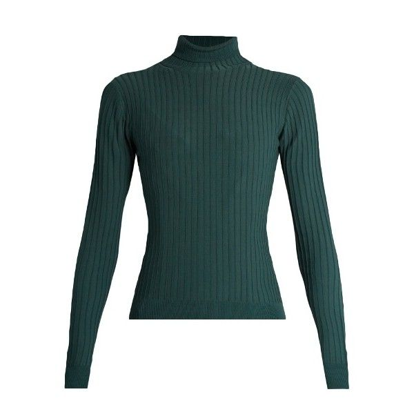 Acne Studios Ida roll-neck ribbed-knit sweater (€330) ❤ liked on Polyvore featuring tops, sweaters, green, green top, acne studios sweater, holiday sweaters, special occasion tops and ribbed knit sweater
