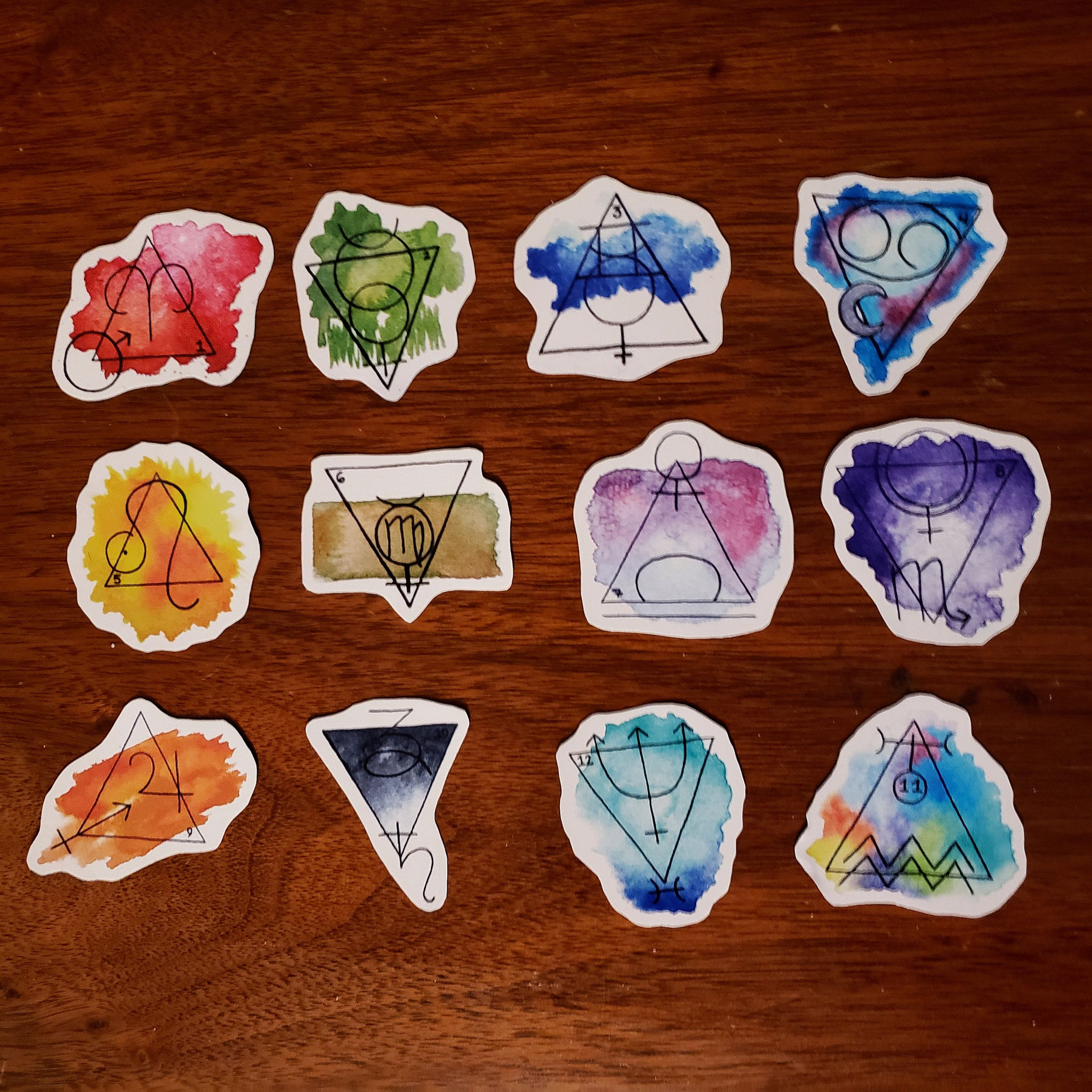 "Mini pack of all 12 Astrology Watercolor Stickers (1"") — Cloud Nine Studios"