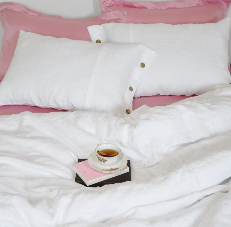 White Linen Duvet Cover For Queen King Full Twin Twin Xl Etsy White Linen Duvet Covers White Linen Bedding Linen Duvet Covers