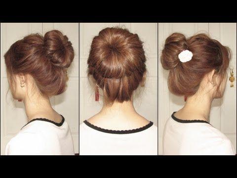 Korean Bun Repined Hair Tutorial Long Hair Styles Hair Videos