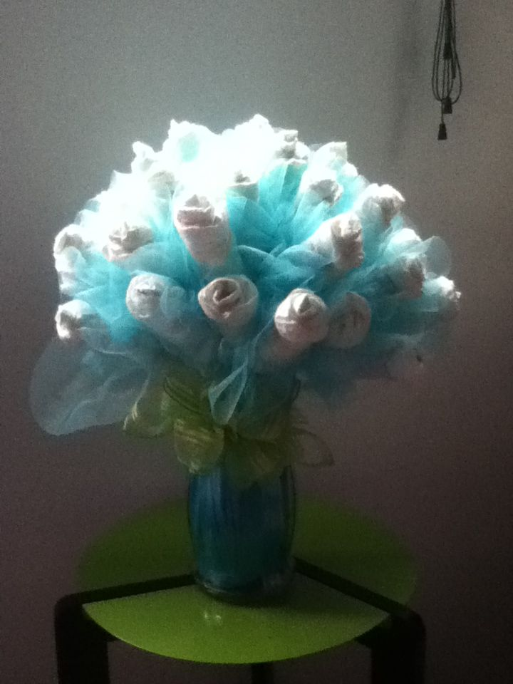 Large Medium Blue Baby Diaper Bouquet Great For A Shower Or Hospital Gift Can Also Be Used As Centerpiece At Made Smaller