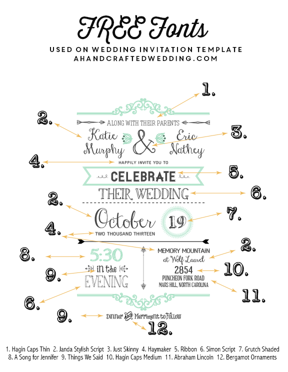 FREE Fonts To Use On Rustic Or Vintage Inspired Invitations Download A FREE Printable Wedding