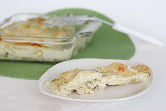 White Chicken Enchiladas     http://www.tasteandtellblog.com/2011/03/white-chicken-enchiladas/