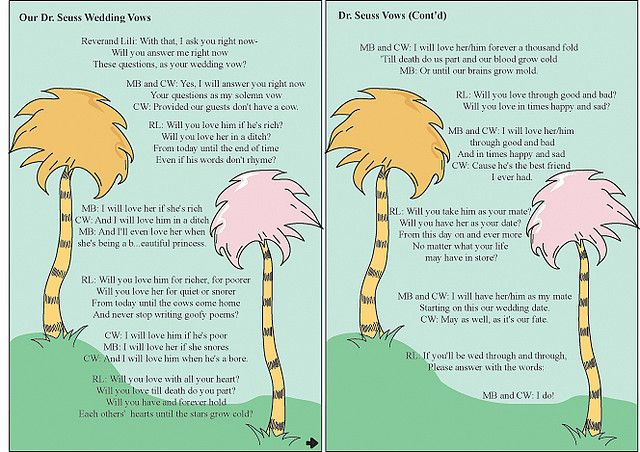 Dr Seuss Vow Cards Wedding Quotes Funny Wedding Officiant Script Funny Wedding Ceremony Readings