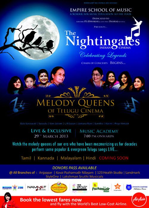 The Nightingales Melody Queens of Telugu Cinema - Chennai Eventz