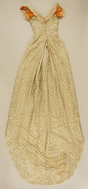 Court dress (image 2 - back) | Austrian | 1892-93 | silk, metallic thread, glass | Metropolitan Museum of Art | Accession Number: 1978.486