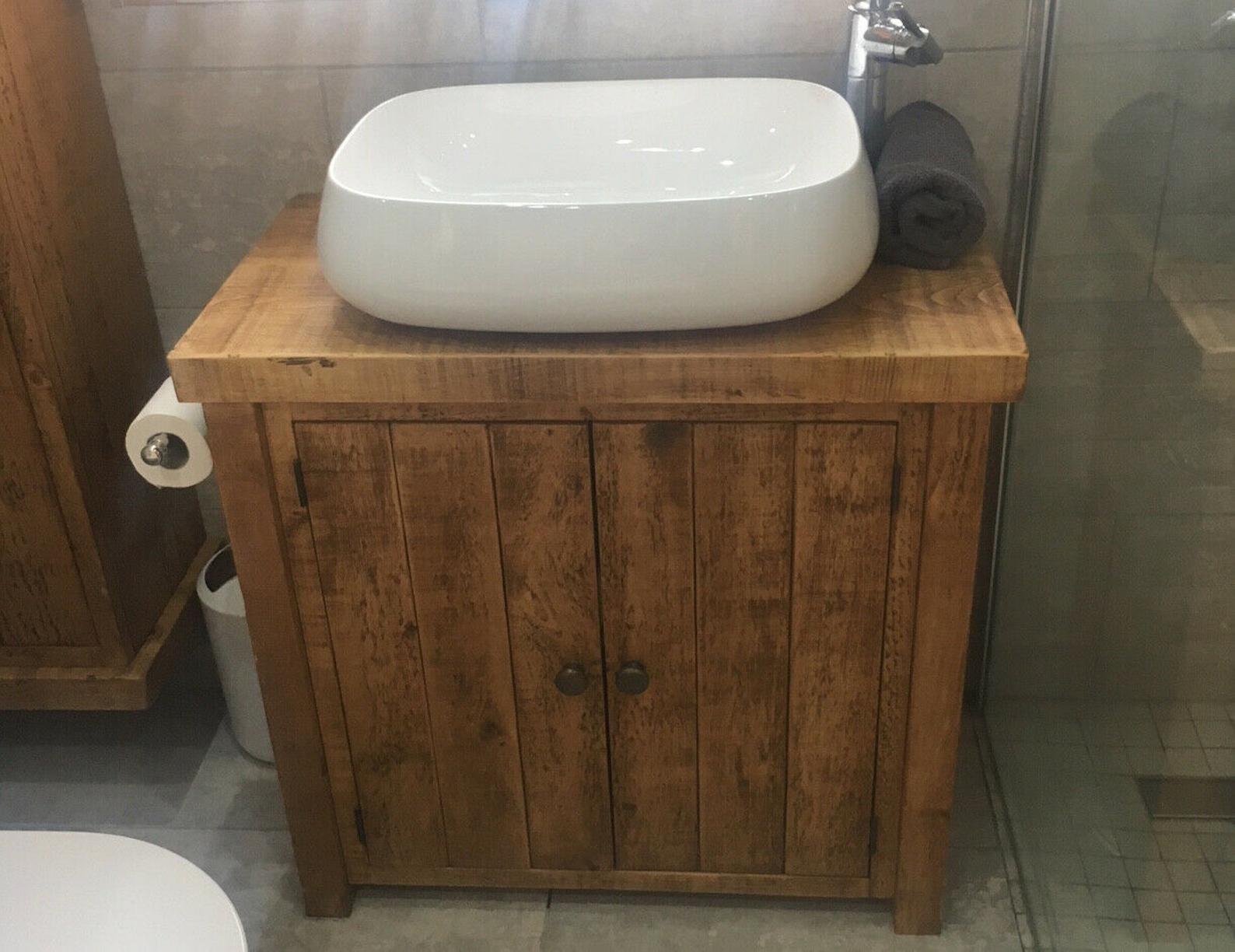 Rustic Plank Solid Wood Bathroom Washstand Vanity Sink Unit Small