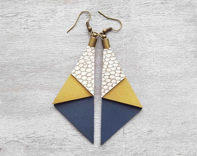 Photo of Gold Leather Earrings Layered earrings