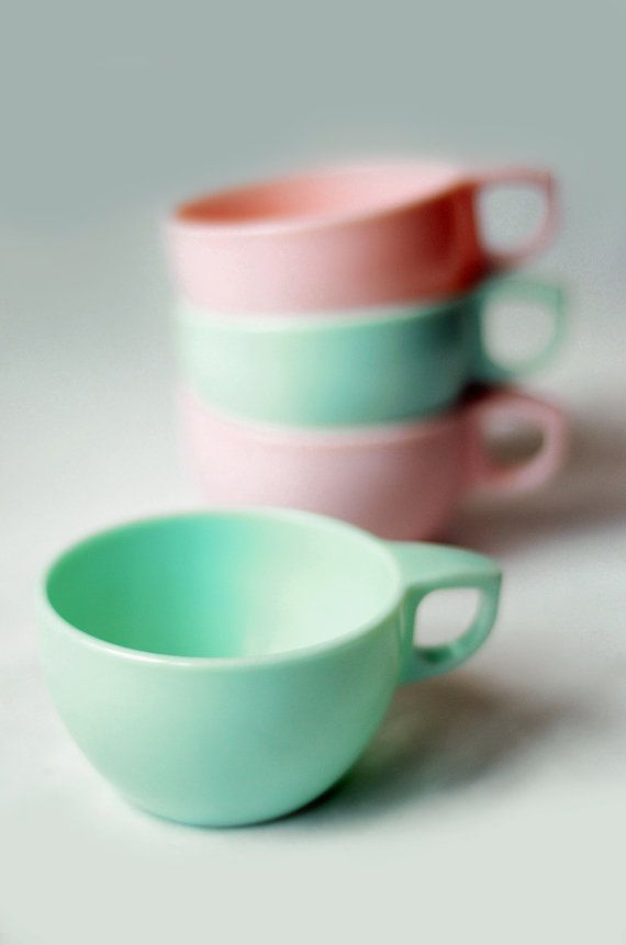 Watertown Lifetime Melmac Cups in Mint Green   We had a set of these from Holman's department store, Pacific Grove, CA