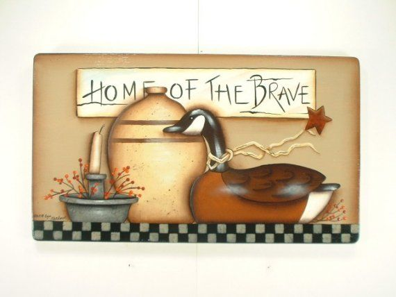 Sign Home of the Brave Hand Painted Wooden Plaque 640
