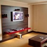 Wood TV wall panel with speakers