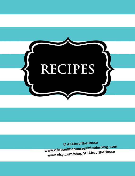 Recipe Binder Printables Recipe Sheet paisley pink blue Recipe Card