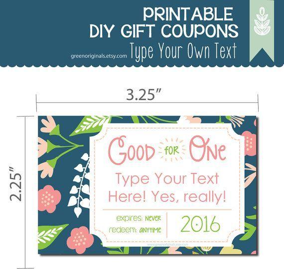 Printable EDITABLE DIY Love Coupons - Gift Coupons, DIY Gift - diy printable coupons