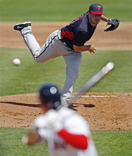 45229e25718 Minnesota Twins starter Jason Marquis delivers to Boston Red Sox batter  Jacoby Ellsbury (Spring Training