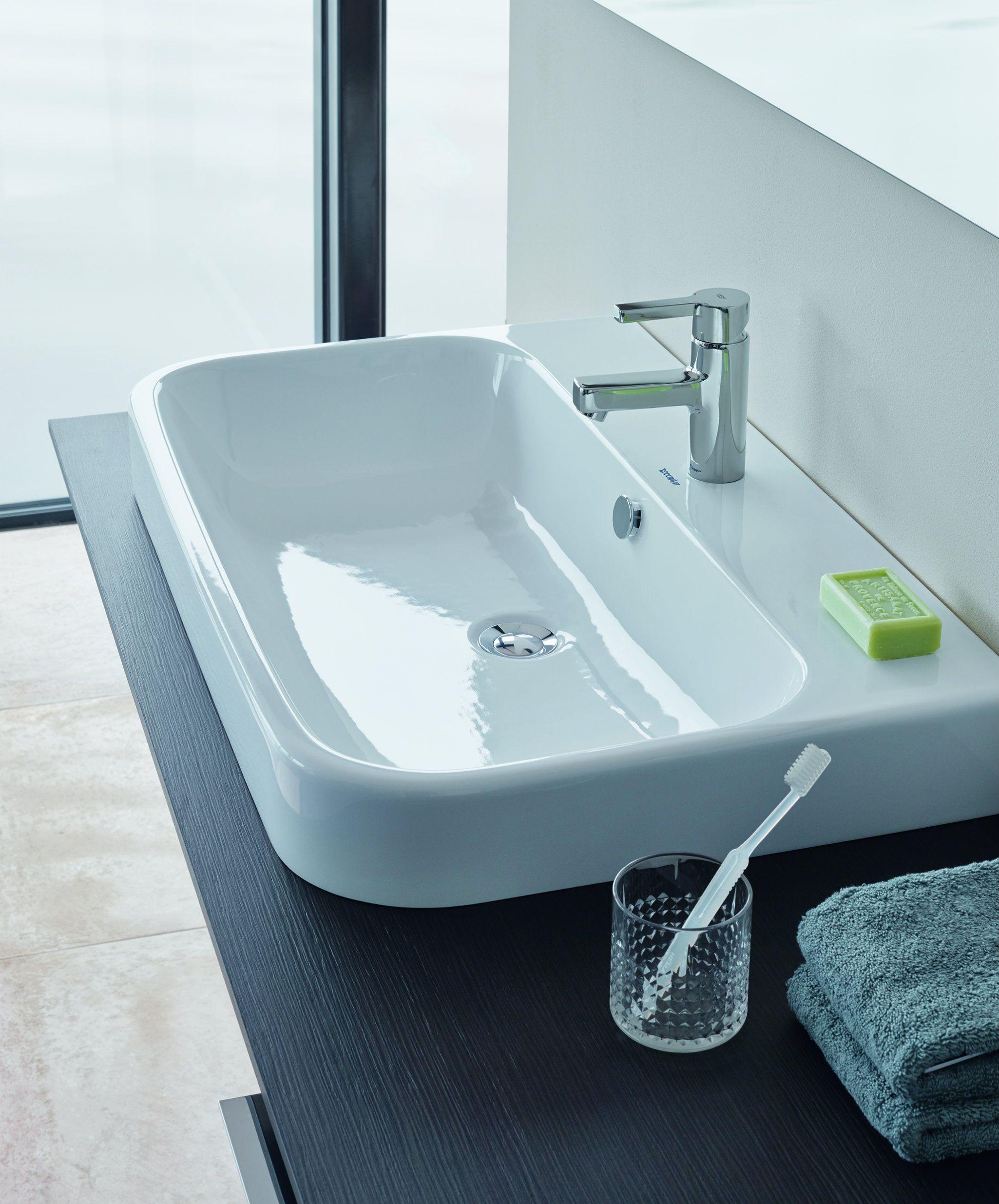 Happy D.2 Washbasin with tap platform 600mm on furniture   Duravit ...