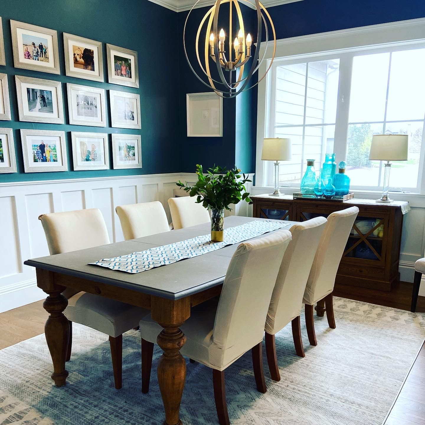 Dining room makeover with a chalk paint top table and Ballard Designs buffet. #diningroom #diningroomideas #diningroomdecorating #diningroomdecor #diningroomdesign