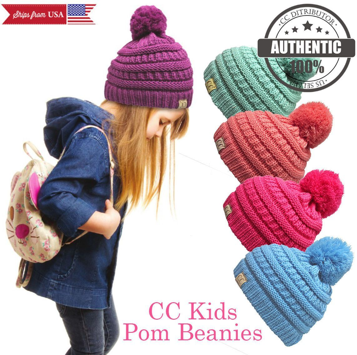 e72bc638012416 Clothing, Shoes & Accessories Kids Pom Pom CC Beanie Trendy Simple Winter  Solid Cable Knit Hat Women's Accessories