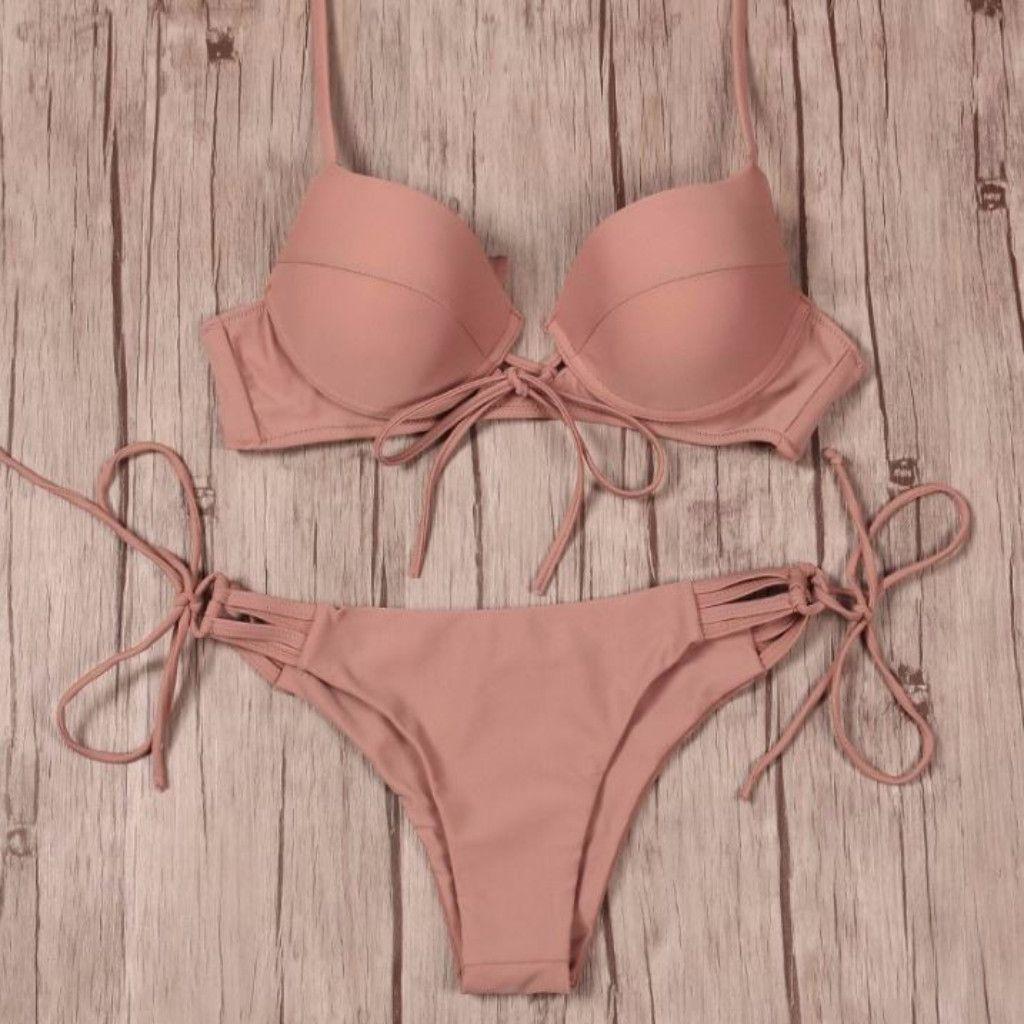 48efdfd83f91e Tropical Strappy Push Up Women Bikini Set