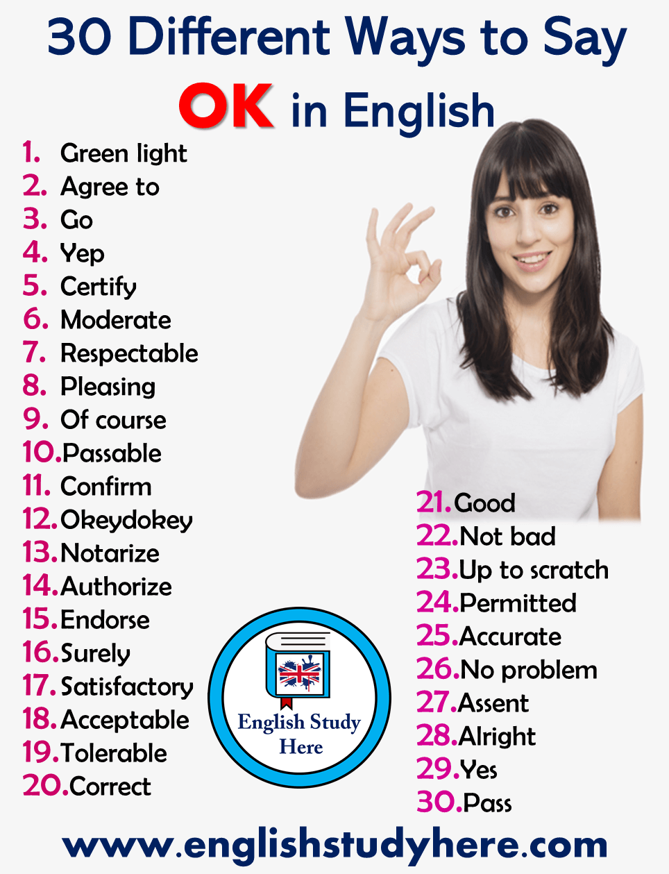30 Different Ways To Say Ok In English English Study Here English Words Learn English Words English Vocabulary Words