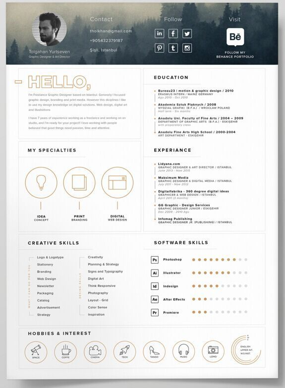 Business infographic  130 New Fashion Resume \/ CV Templates For - single page resume template